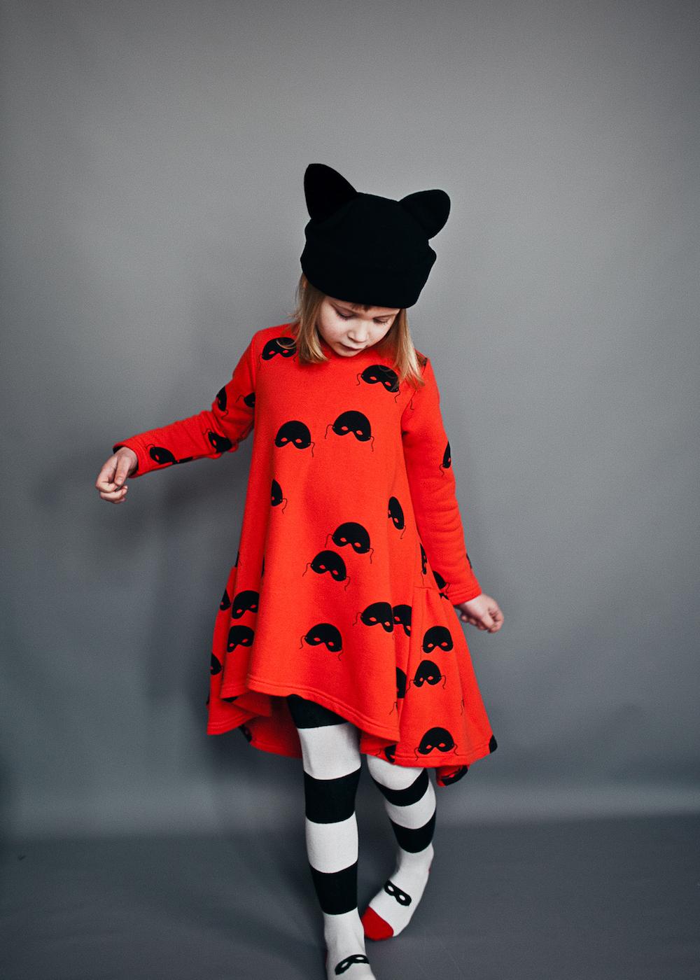 Beau-Loves-AW16-Red-Dress-Black-White-Stripe-Tights